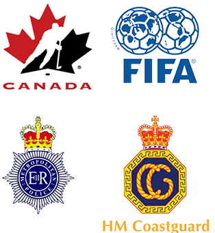 Customer logos for NHL Canada, FIFA, Metropolitan Police and HM Coastguard
